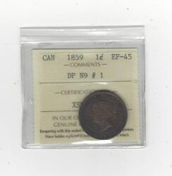 1859 Dpn1 ,iccs Graded Canadian, Large One Cent, Ef-45