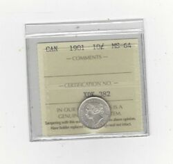 1901 Iccs Graded Canadian Silver 10 Cent Ms-64
