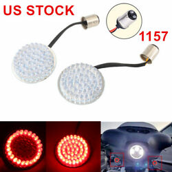 SRC Red 2'' 1157 LED Turn Signal Inserts Running Light Fit For Harley US STOCK