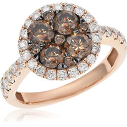 14k Rose Gold Halo Pave Diamond Champagne Brown Cognac Engagement Cluster Ring
