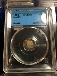 1885 Small 5/5, Cccs Graded Canadian Small Silver Five Cent, Ef-45