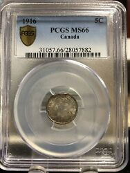 1916 Pcgs Graded Canadian Small Silver Five Cent Ms-66wow