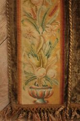 Tapestry Antique French Arts And Crafts Needlepoint Border Textile Wall Hanging
