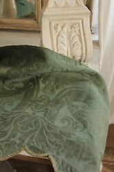 Italian 18th Century Silk Damask Valance Green Textile Antique Early 1700and039s