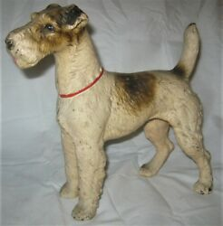 ANTIQUE LG. HUBLEY FOX TERRIER CAST IRON DOG ART STATUE SCULPTURE HOME DOORSTOP