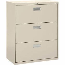 Sandusky LF6A36307 3Drawer Lateral File Cabinet-Putty 36inWx19 14inDx40 78inH