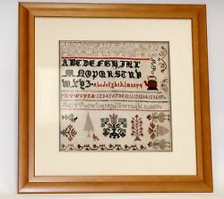 Antique Sampler Letters And Pictures Embroidered In 1857
