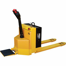 Fully Powered Elect Pallet Truck wStand-On Platform 4500lb Cap 27inx48in Forks