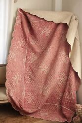 Bed Cover Antique French Toile De Alsace 1840 Pink Bedding Old Intact Coverlet