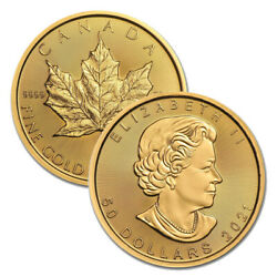 Lot Of 2 Gold 2021 Maple 1 Oz Canadian Gold Maple Leaf 50 .9999 Fine Coins