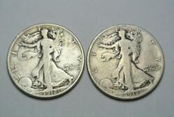 1918-d And 1918-s Walking Liberty Half Dollars, Fine + Condition - C6586