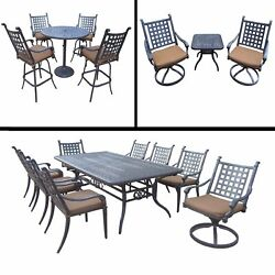 Sunbrella Cushioned Set with 5 Pc Bar Set 9 Pc Dining Set with Extendable Table