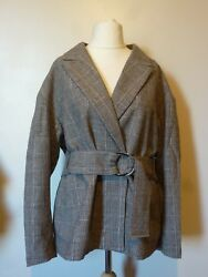 Handm Womens Fitted Woven Wool Blend Belted Jacket Size 20/22 Uk Bnwt Andpound43.98 Check