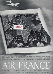 Air France Constellation Worldwide Route Map French 1947 Ad