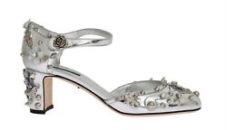 NEW $1200 DOLCE & GABBANA Shoes Silver Leather Crystal Fairy Tale EU38.5  US8