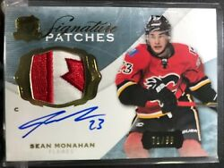 14-15 The Cup Signature 71/99 Sean Monahan Patch Auto Canada Flag Flames