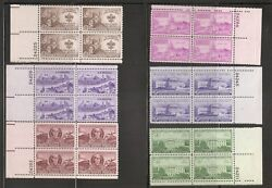 United States. 20 Different Plate Blocks of Four 1940s 1950s. MNH 2
