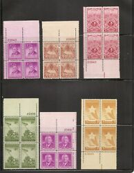 United States. 20 Different Plate Blocks of Four 1940s 1950s. MNH 6