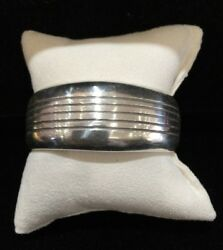 Native American Signed Dan Jackson Sterling Silver Cuff With Hidden Turquoise