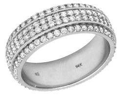 14k White Gold Real Diamond 4 Row Menand039s Eternity Wedding Band Ring 2.10 Ct 7mm