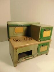 Vintage Toy Green And Tan Colored Metal Stove