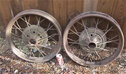 Two Antique Primitive Usa Country Yard Art Cast Iron Garden Car Tractor Wheels
