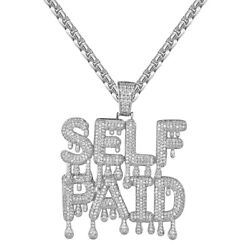 Sterling Silver Dripping Self Paid Rich Pendant White Finish Free Chain