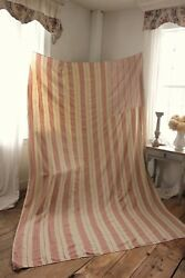 Antique French Ticking Fabric 19th Century Linen Faded Material Large
