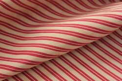 Antique French Ticking Fabric Upholstery Christmas Striped Fabric Red