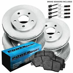Fit Mercedes-Benz 300SE, 300SD, S350 Front Rear  Blank Brake Rotors+Ceramic Pads