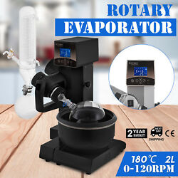 2L Rotary Evaporator Motor Lifting Rotavapor W Water Bath Lab Safe LCD Screen