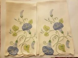 2 Vintage Madeira Morning Glory Glories Linen Hand Embroidered Hand Towels