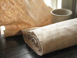 Antique Upholstery Fabric Hemp Linen 13.8 Yards Of Washed Organic Material
