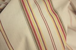 Antique French Ticking Fabric Red Striped 53x144 Inches Faded Fab Material