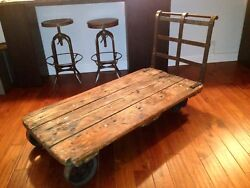 Iron And Wood Collectible Push Cart From Old Soho Fabric Warehouse