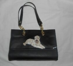 Soft Coated Wheaten Terrier Hand Painted Leather Handbag Purse