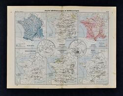1885 Cortambert Map - France Meteorology Climate  Geology Minerals Ores - Paris