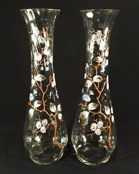 Vintage Pair Of Vases Hand Painted 14 1/2 Paneled Glass Floral And Vine Design