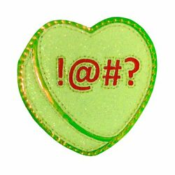 Shock and Awww Designer Leather Glitter Candy Heart Iron on Sew on Patch Lime