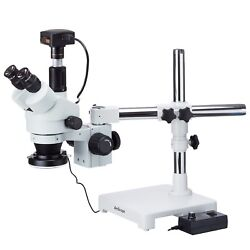 3.5x-180x Boom Stand Trinocular Zoom Stereo Microscope + 144-led Ring Light + 18