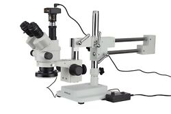 7x-90x Simul-focal Stereo Zoom Microscope + Boom Stand + Led Light + Camera
