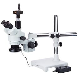 3.5x-180x Boom Stand Trinocular Zoom Stereo Microscope + 144-led Ring Light + 14