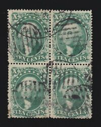 Us 32 And 33 10c Washington Used Block Of 4 Vf Appr Scv 3500