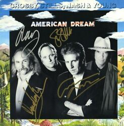 Csny David Crosby Stephan Stills Nash And Neil Young Signed American Dream Lp Acoa