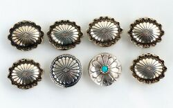 Lot Of 8 Native American Sterling Silver Button Covers