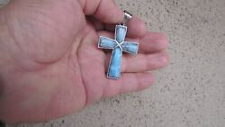 Unique Turquoise Pendant Christian Cross for Rosary or Necklace Sterling Silver $19.99