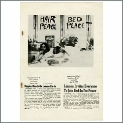 John Lennon And Yoko Ono 1969 Montreal Bed-in For Peace Newspaper Collection