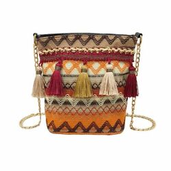 Vintage Shoulder Bag Women Weaving Tassel Messenger Crossbody Girls Cute Handles $13.48