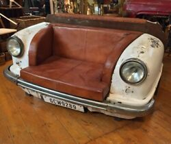 Sofa Restoration Style Vintage Car Top Grain Leather Chesterfield Love Seat