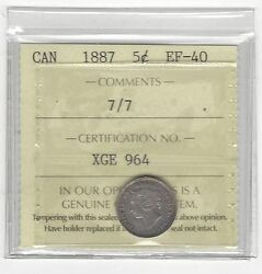 1887 7/7iccs Graded Canadian 5 Cent Ef-40